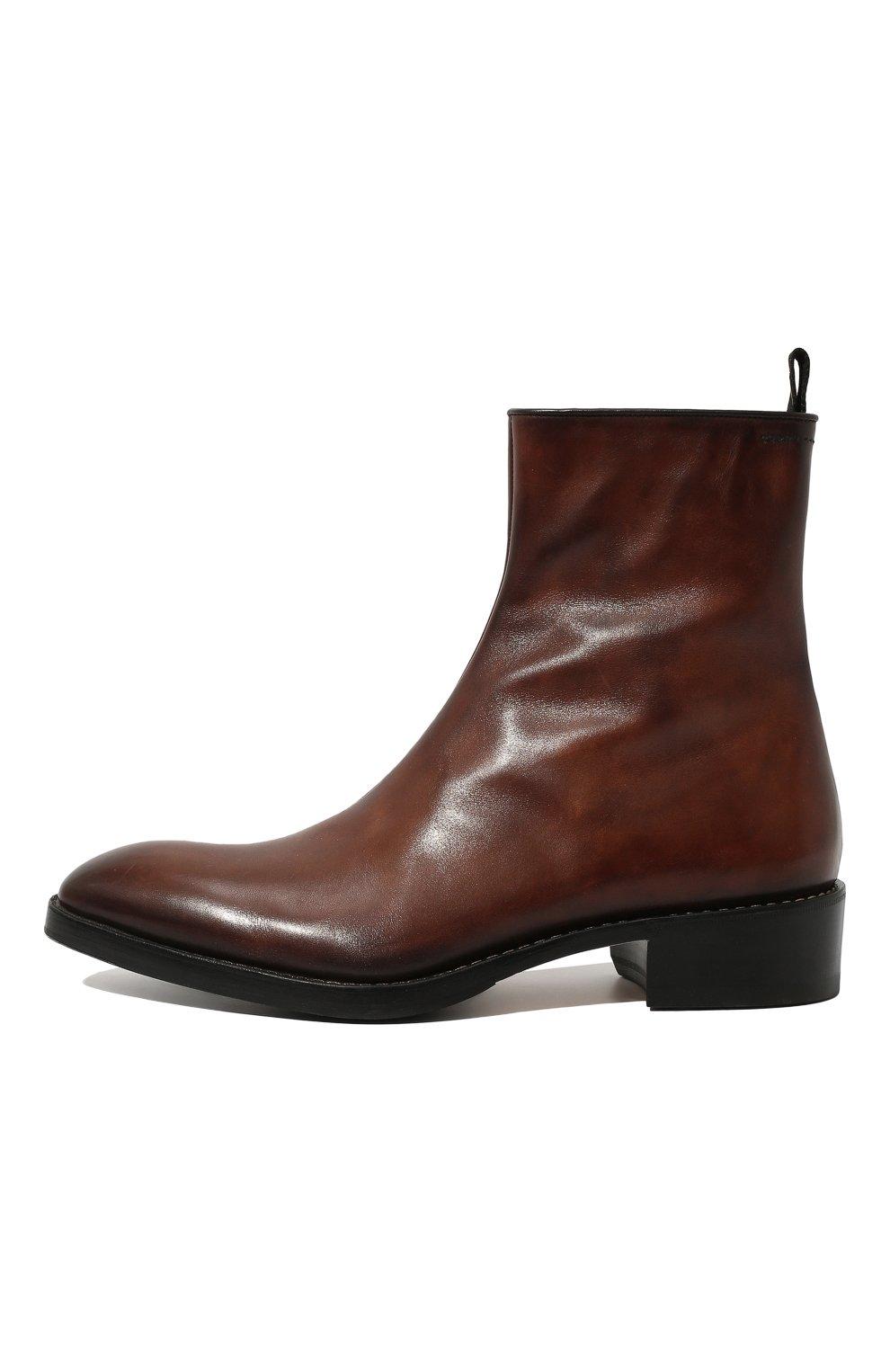 Мужские кожаные сапоги на молнии BERLUTI темно-коричневого цвета, арт. S4619-001 | Фото 4 (Статус проверки: Проверено, Проверена категория; Подошва: Плоская; Мужское Кросс-КТ: Сапоги-обувь)