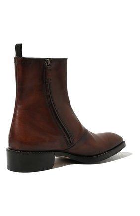 Мужские кожаные сапоги на молнии BERLUTI темно-коричневого цвета, арт. S4619-001 | Фото 5 (Статус проверки: Проверено, Проверена категория; Подошва: Плоская; Мужское Кросс-КТ: Сапоги-обувь)