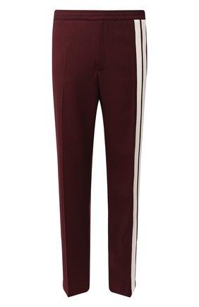 Мужской шерстяные брюки прямого кроя VALENTINO бордового цвета, арт. RV3RBB00ZTM | Фото 1