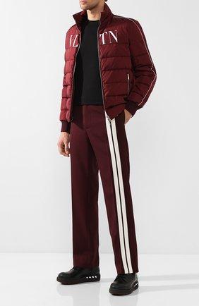 Мужской шерстяные брюки прямого кроя VALENTINO бордового цвета, арт. RV3RBB00ZTM | Фото 2