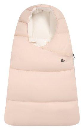 Детский утепленный конверт MONCLER ENFANT светло-розового цвета, арт. D2-951-00828-05-53079 | Фото 1