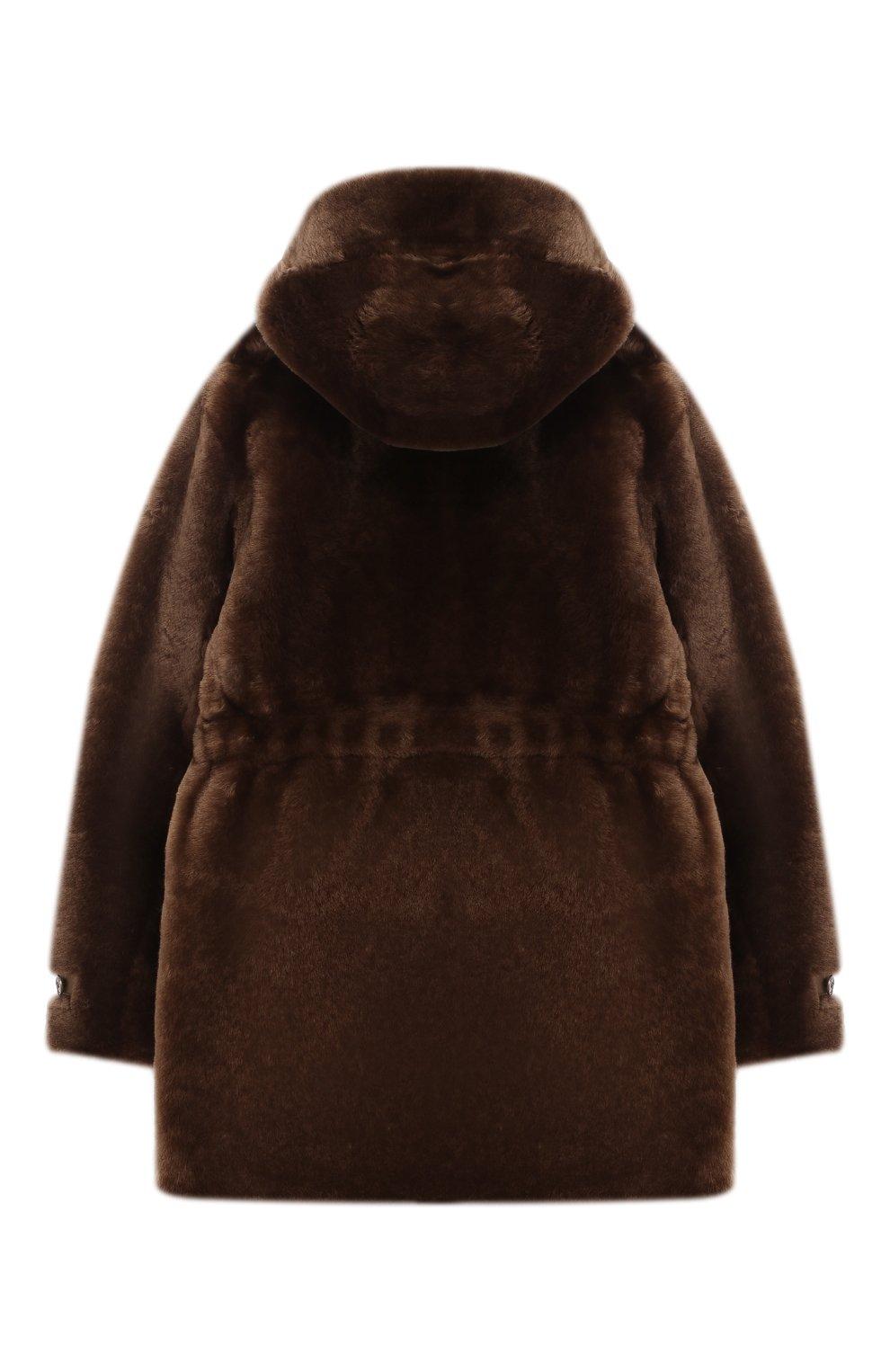 Детская двусторонняя дубленка с капюшоном LORO PIANA коричневого цвета, арт. FAI4119 | Фото 4