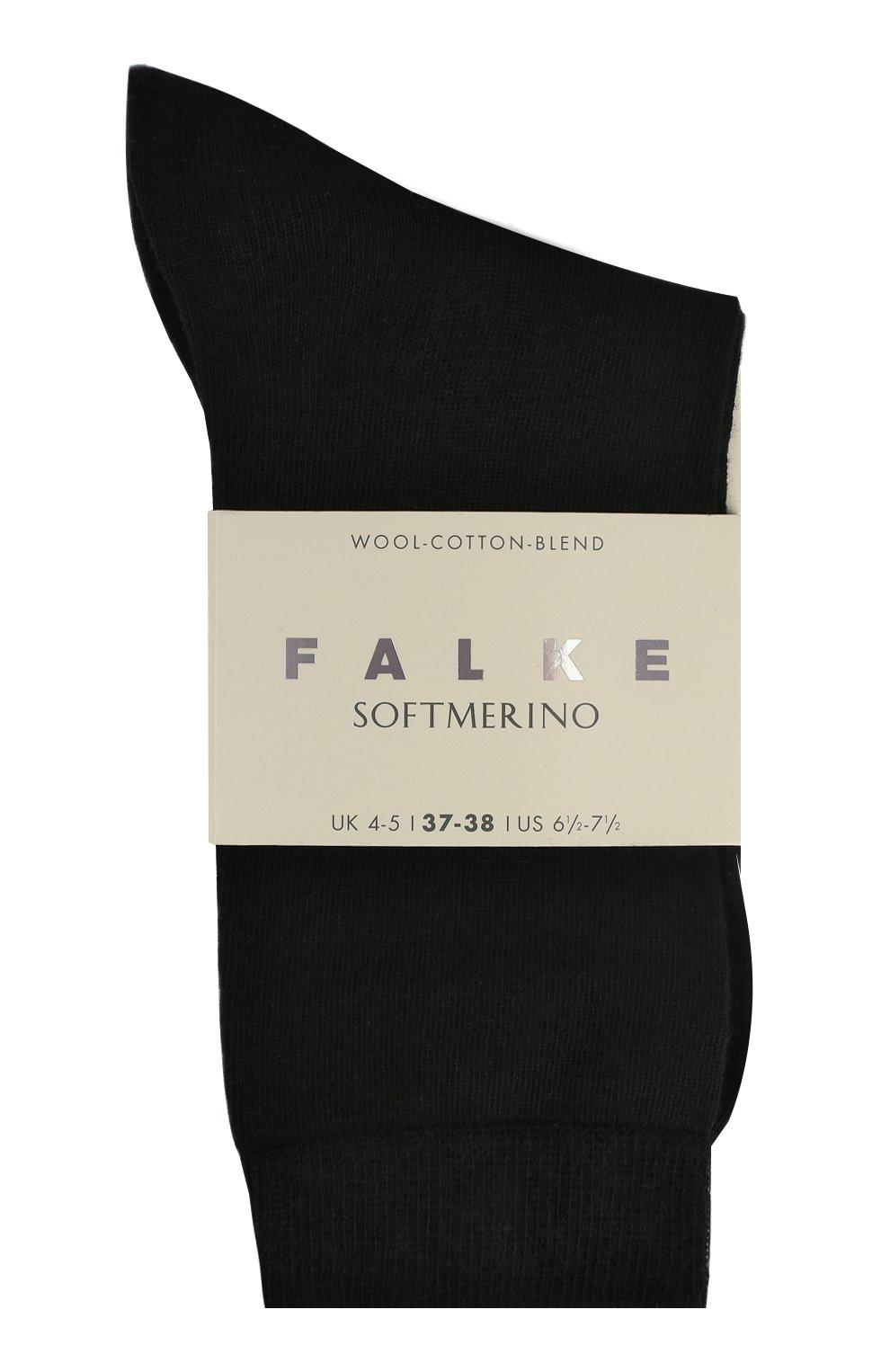 Женские носки softmerino из смеси шерсти и хлопка FALKE черного цвета, арт. 47488_ | Фото 1