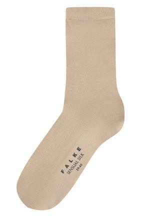Женские носки sensual silk из смеси хлопка и шелка FALKE бежевого цвета, арт. 46288_ | Фото 1
