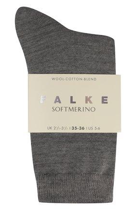 Женские носки softmerino из смеси шерсти и хлопка FALKE серого цвета, арт. 47488_ | Фото 2