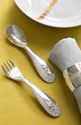 Мужского детский набор: ложка и вилка beebee CHRISTOFLE серебряного цвета, арт. 00082314   Фото 2