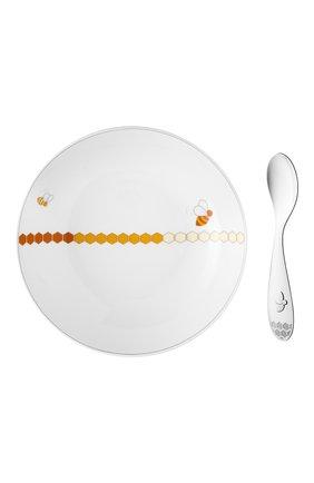 Набор из тарелки и ложки beebee CHRISTOFLE белого цвета, арт. 07754105 | Фото 1