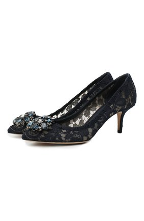 Женская текстильные туфли rainbow lace DOLCE & GABBANA темно-синего цвета, арт. CD0066/AL198 | Фото 1