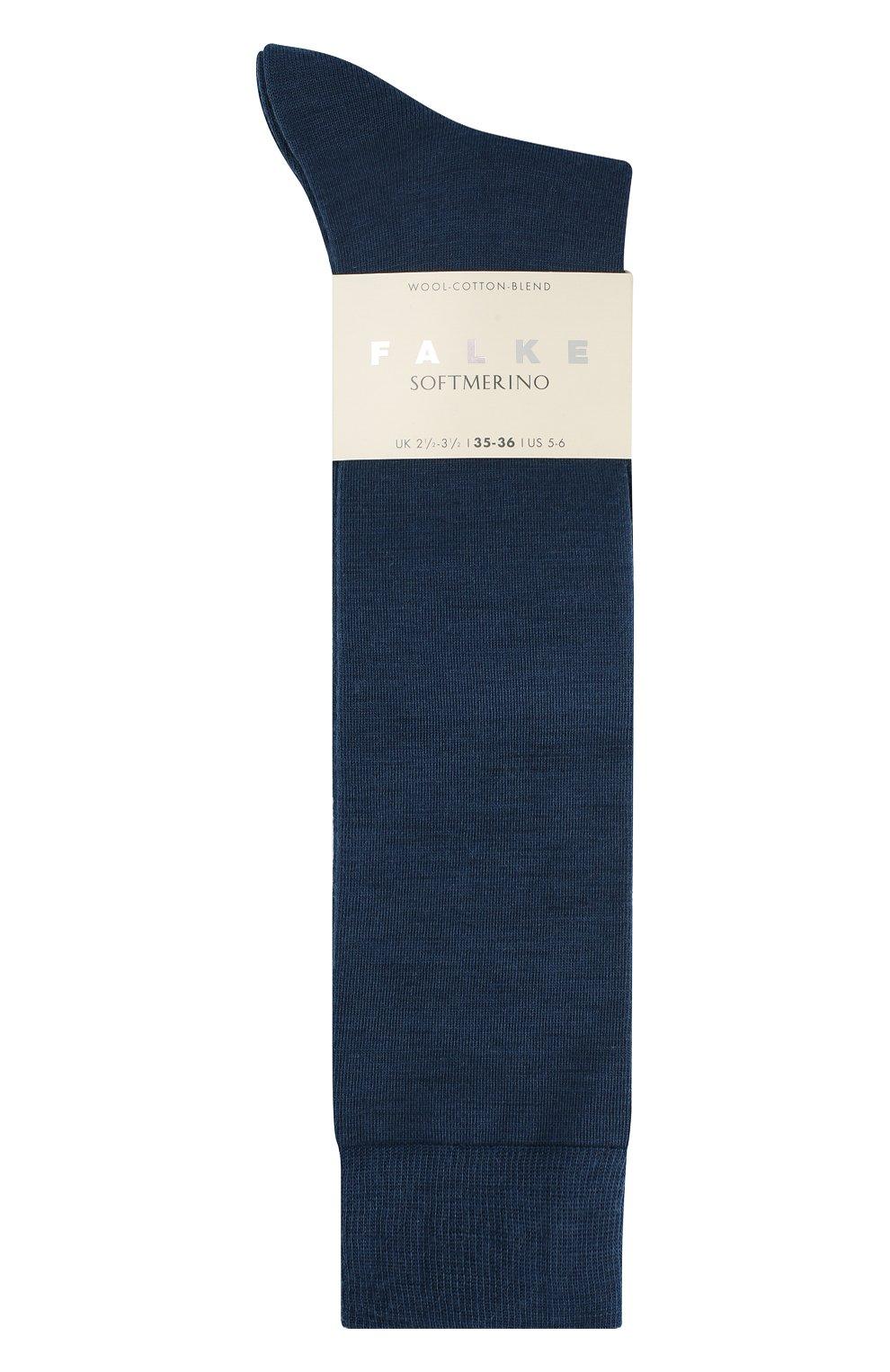 Женские гольфы softmerino из смеси шерсти и хлопка FALKE синего цвета, арт. 47438_18_   Фото 3