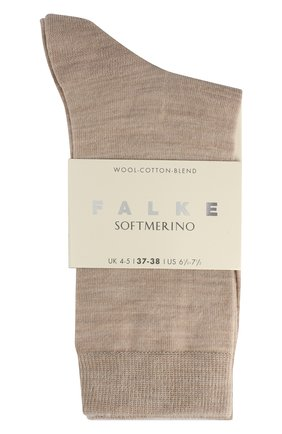 Женские носки softmerino из смеси шерсти и хлопка FALKE бежевого цвета, арт. 47488_ | Фото 2