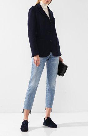 Женский кашемировый жакет с накладными карманами LORO PIANA темно-синего цвета, арт. FAI2772 | Фото 2