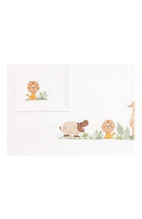 Детского комплект из хлопковой простыни и наволочки LORETTA CAPONI белого цвета, арт. 182K20238300701 | Фото 1