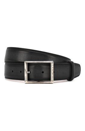 Мужской кожаный ремень с металлической пряжкой BERLUTI черного цвета, арт. C0002-006 | Фото 1