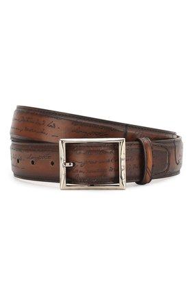 Мужской кожаный ремень с металлической пряжкой BERLUTI коричневого цвета, арт. C0002-029 | Фото 1