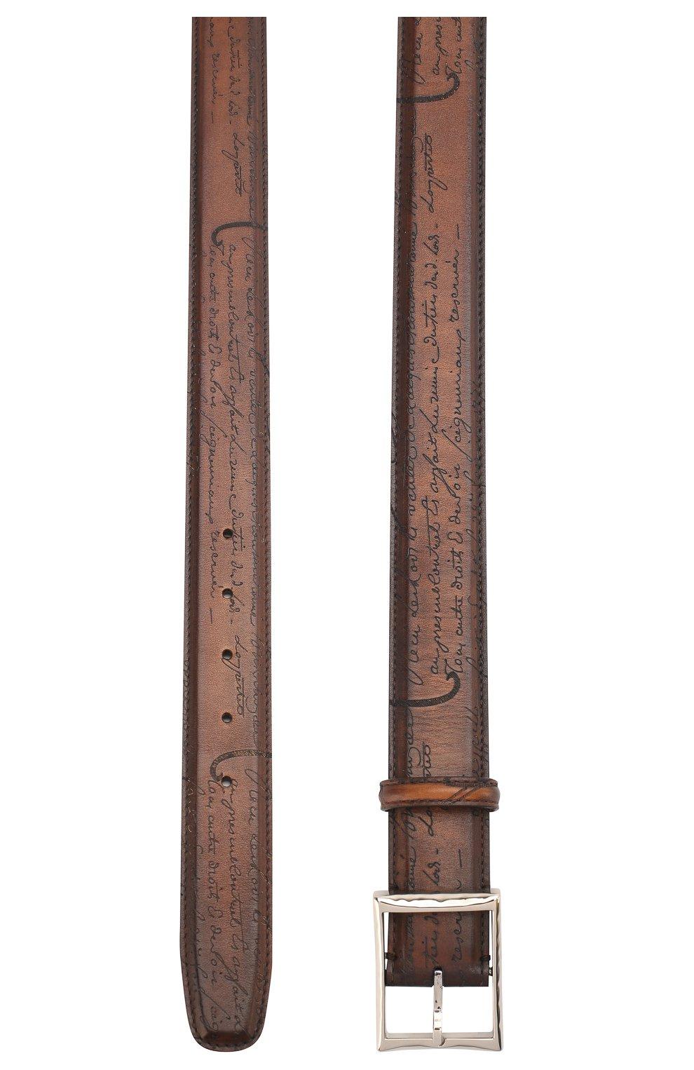 Мужской кожаный ремень с металлической пряжкой BERLUTI коричневого цвета, арт. C0002-029   Фото 2
