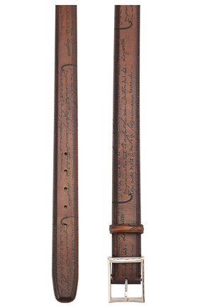 Мужской кожаный ремень с металлической пряжкой BERLUTI коричневого цвета, арт. C0002-029 | Фото 2