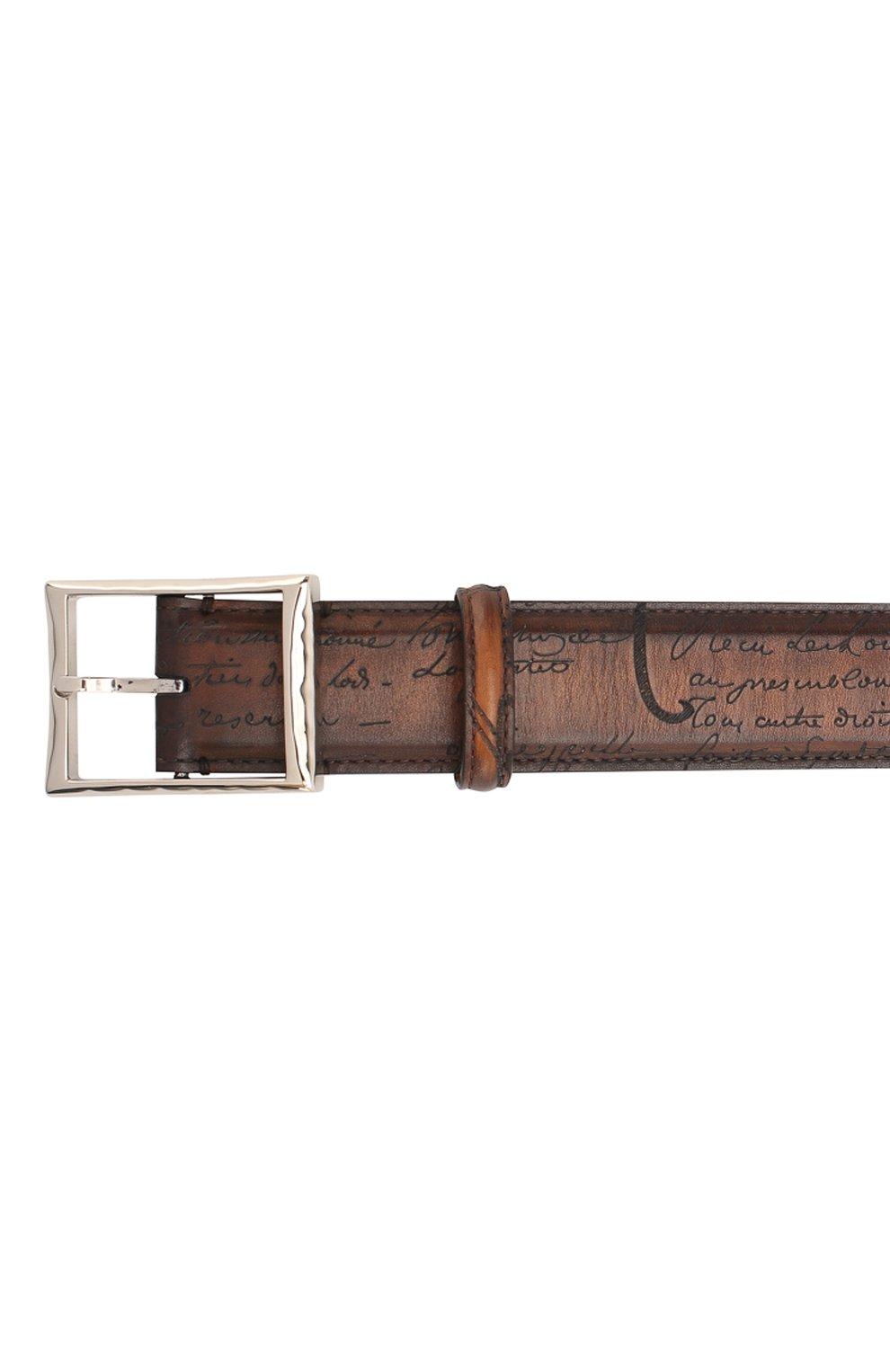 Мужской кожаный ремень с металлической пряжкой BERLUTI коричневого цвета, арт. C0002-029   Фото 3