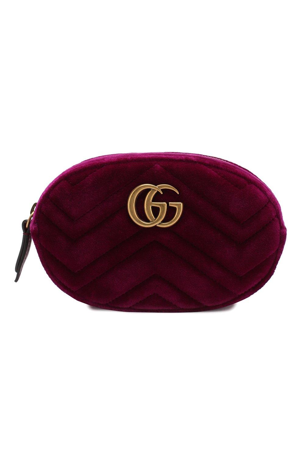 Фото Женская фуксия поясная сумка gg marmont из бархата GUCCI Италия  5198793 476434 9FRDT 9308b18c041