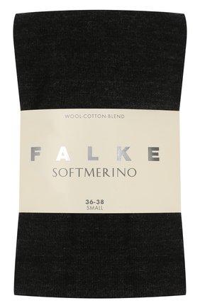 Колготки Softmerino из смеси шерсти и хлопка Falke темно-серые | Фото №2