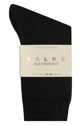 Женские носки softmerino из смеси шерсти и хлопка FALKE темно-серого цвета, арт. 47488_ | Фото 2
