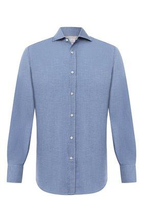 Мужская хлопковая рубашка BRUNELLO CUCINELLI голубого цвета, арт. MG6710028 | Фото 1