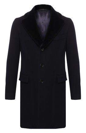 Кашемировое пальто с норковой отделкой воротника | Фото №1