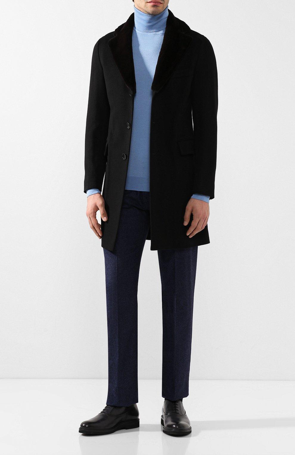 Кашемировое пальто с норковой отделкой воротника | Фото №2