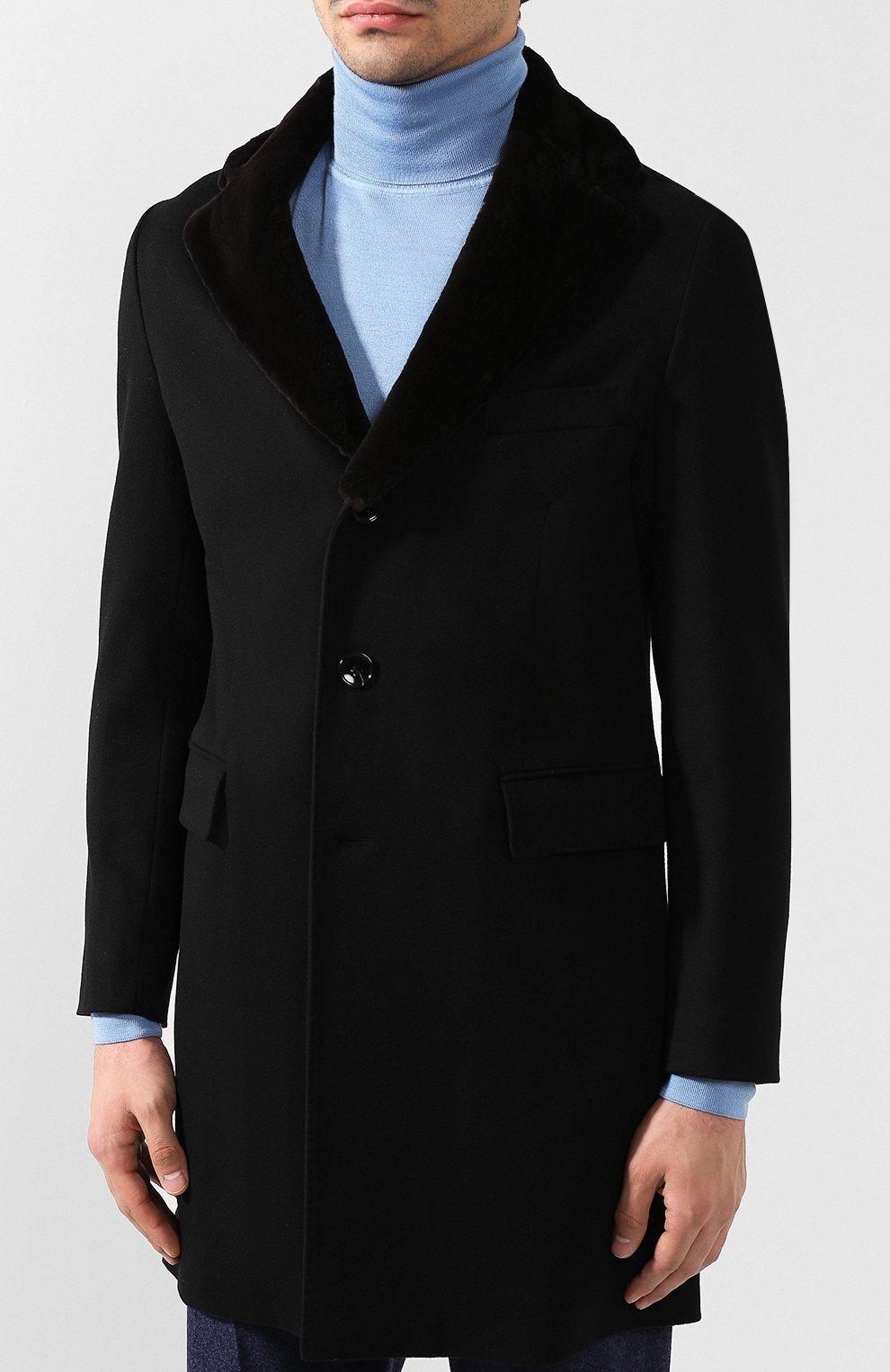 Кашемировое пальто с норковой отделкой воротника | Фото №3
