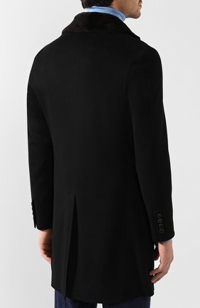 Кашемировое пальто с норковой отделкой воротника | Фото №4