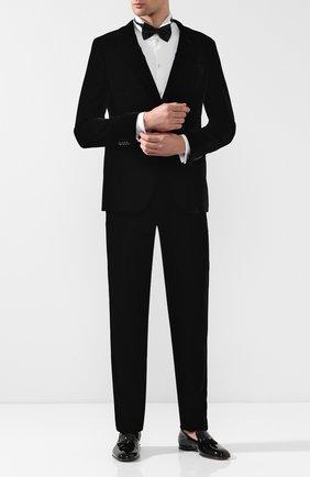 Мужской брюки из вискозы прямого кроя GIORGIO ARMANI черного цвета, арт. 8WGPP012/T0025 | Фото 2