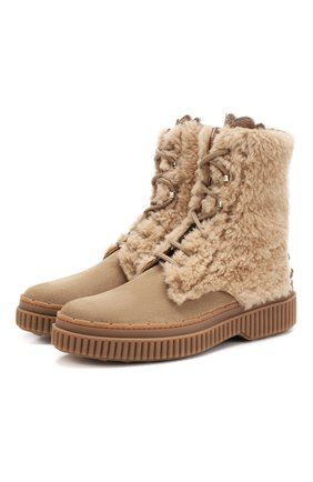 Женские замшевые ботинки с внутренней меховой отделкой TOD'S бежевого цвета, арт. XXW39A0AN60K70 | Фото 1