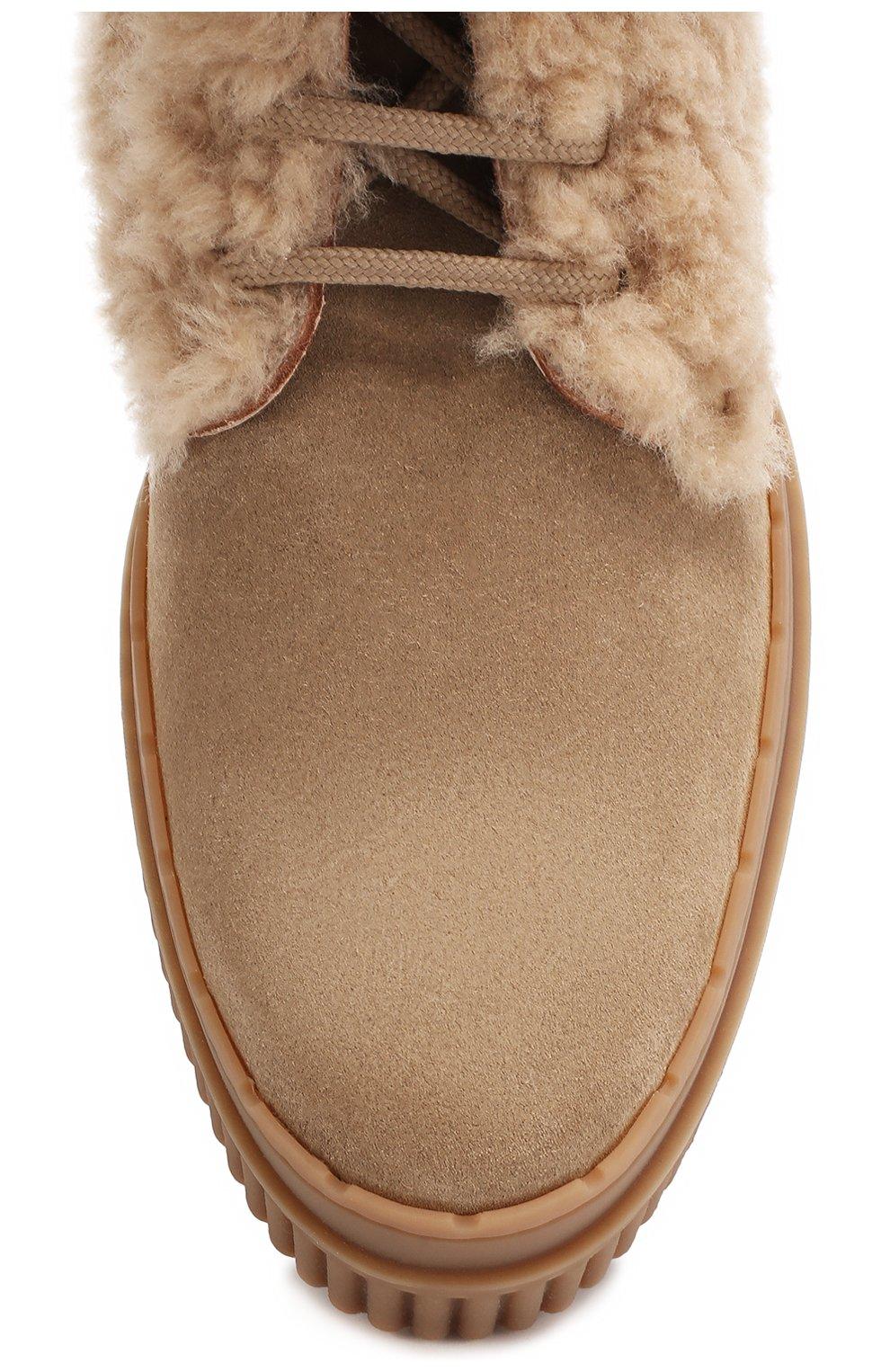 Замшевые ботинки с внутренней меховой отделкой | Фото №5