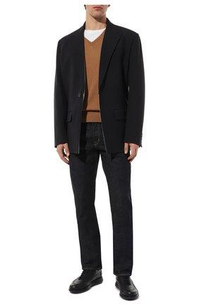 Мужские кожаные кроссовки GIORGIO ARMANI темно-синего цвета, арт. X2C526/XF224 | Фото 2
