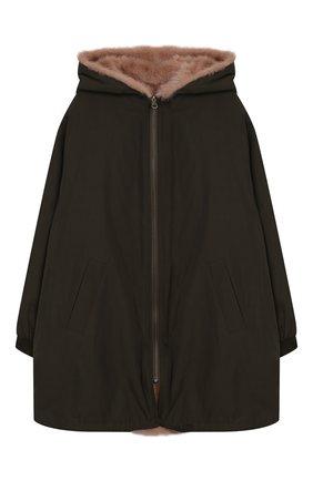 Детское двустороннее пальто с мехом YVES SALOMON ENFANT хаки цвета, арт. 9WEM902XXNYVC/8-12 | Фото 1