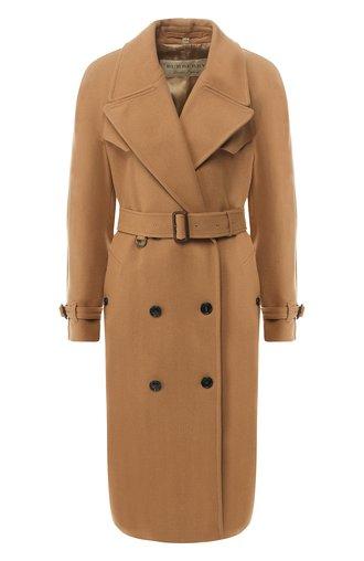 Двубортное шерстяное пальто с поясом