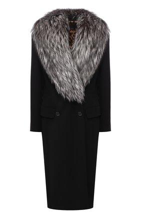 Женское шерстяное пальто с воротником из меха лисы DOLCE & GABBANA черного цвета, арт. I0479W/FU3A1 | Фото 1