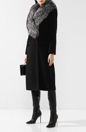 Женское шерстяное пальто с воротником из меха лисы DOLCE & GABBANA черного цвета, арт. I0479W/FU3A1 | Фото 2