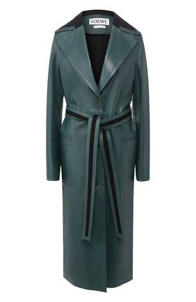 Кожаное пальто с поясом | Фото №1