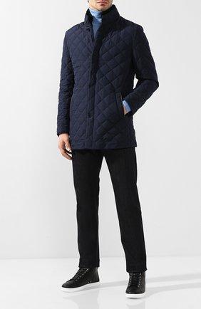 Мужская утепленная куртка с меховой отделкой ANDREA CAMPAGNA темно-синего цвета, арт. M6T76T/4164   Фото 2