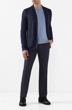 Мужские шерстяные брюки ANDREA CAMPAGNA темно-синего цвета, арт. SPIAGGIA/1/DG0317   Фото 2