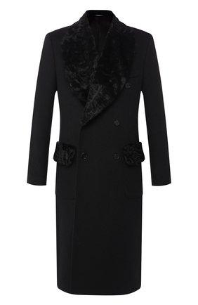 Мужской кашемировое пальто с меховой отделкой воротника DOLCE & GABBANA черного цвета, арт. G005DZ/FU2D1 | Фото 1