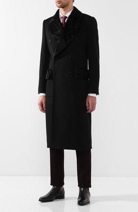 Мужской кашемировое пальто с меховой отделкой воротника DOLCE & GABBANA черного цвета, арт. G005DZ/FU2D1 | Фото 2