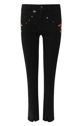 Укороченные джинсы с вышивкой   Фото №1