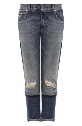 Женские укороченные джинсы прямого кроя с потертостями DOLCE & GABBANA голубого цвета, арт. FTA0PZ/G8V47 | Фото 1