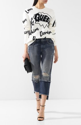 Женские укороченные джинсы прямого кроя с потертостями DOLCE & GABBANA голубого цвета, арт. FTA0PZ/G8V47 | Фото 2