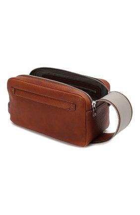 Мужской кожаный несессер  BRUNELLO CUCINELLI коричневого цвета, арт. MWZIU334   Фото 3 (Материал: Натуральная кожа; Статус проверки: Проверена категория)