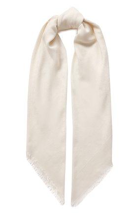 Женский платок из смеси шелка и шерсти GUCCI кремвого цвета, арт. 406236/3G632 | Фото 1 (Материал: Текстиль, Шерсть)