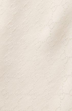 Женский платок из смеси шелка и шерсти GUCCI кремвого цвета, арт. 406236/3G632 | Фото 2 (Материал: Текстиль, Шерсть)