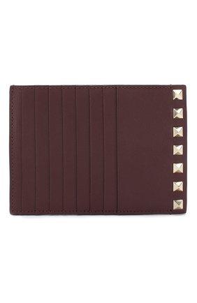 Женский кожаный футляр для кредитных карт valentino garavani rockstud VALENTINO бордового цвета, арт. RW2P0Q60/B0L | Фото 1
