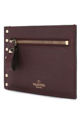 Женский кожаный футляр для кредитных карт valentino garavani rockstud VALENTINO бордового цвета, арт. RW2P0Q60/B0L | Фото 2